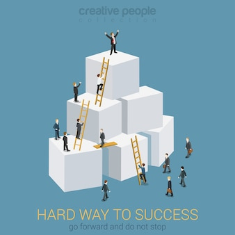 Way to success in business flat 3d web