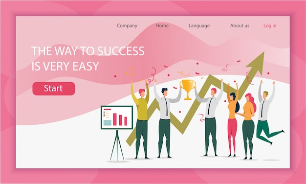 Way team to success is very easy landing page template