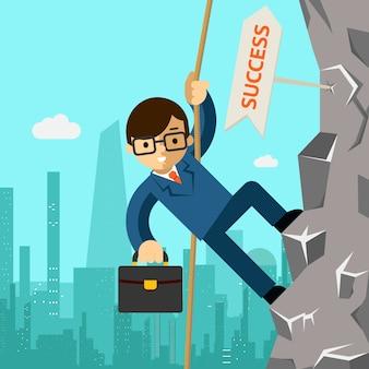 成功への道。ビジネスマンはリーダーシップを目指しています。岩に登る男。ベクトルイラスト
