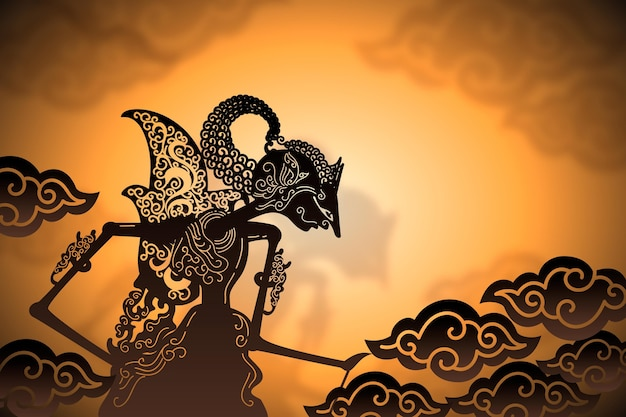 Wayang kulit abstract person and clouds