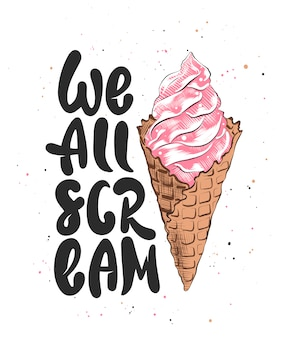 We all scream with ice cream sketch
