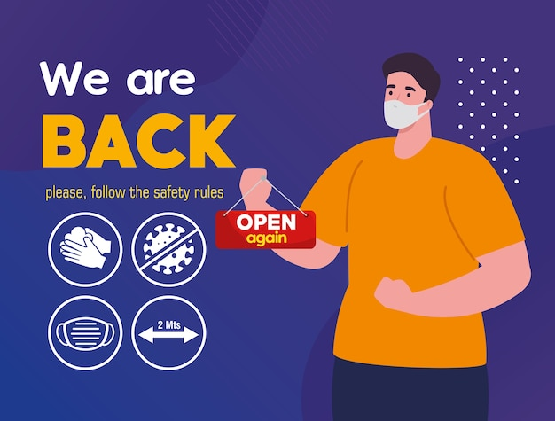 We are back and man hanging label open lettering, please follow the safety rules.