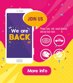 We are back message in smartphone, with prevention measures against covid19.