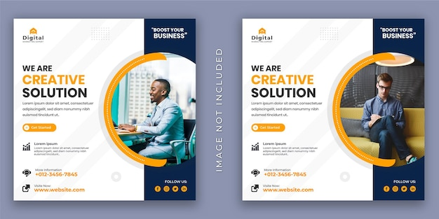 We are creative agency and corporate business flyer. social media instagram post or web banner template