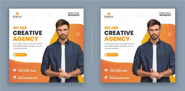 We are creative agency and corporate business flyer square instagram social media post banner