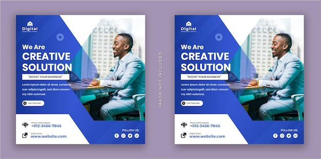 우리는 창조적 인 솔루션 및 기업 비즈니스 전단지 광장 인스 타 그램 소셜 미디어 게시물 배너입니다