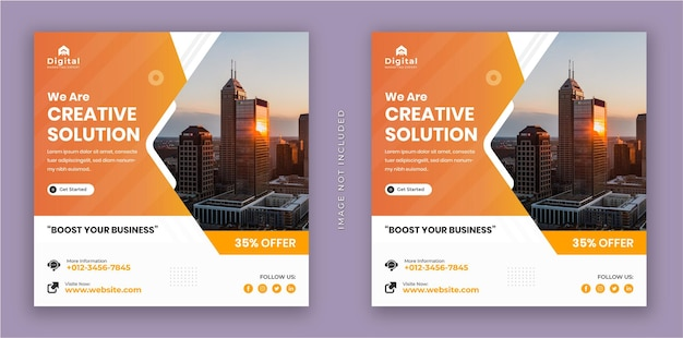 We are creative solution and corporate business flyer square instagram social media post banner