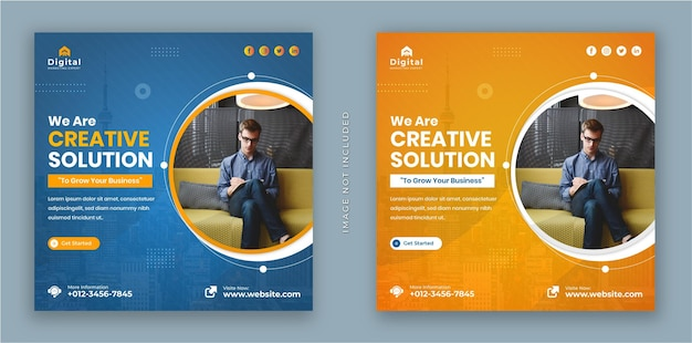 We are creative solution marketing agency flyer and modern square instagram social media post banner