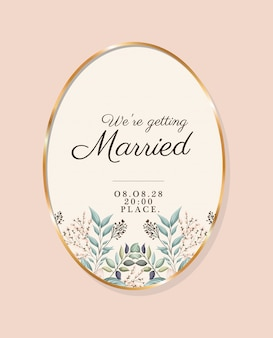 We are getting married text in gold circle with leaves