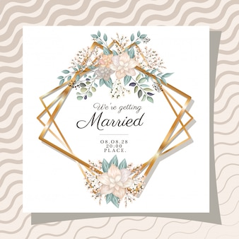 We are getting married text in gold frame with flowers and leaves