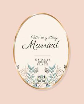 우리는 나뭇잎이있는 금색 원 안에 결혼 텍스트를 작성합니다.