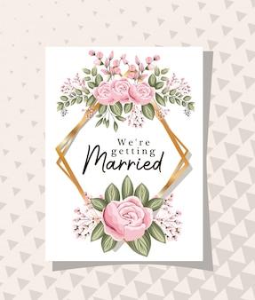 花と葉のゴールドフレームの結婚したテキストを取得しています