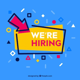 we are hiring  advertisement with geometric shapes