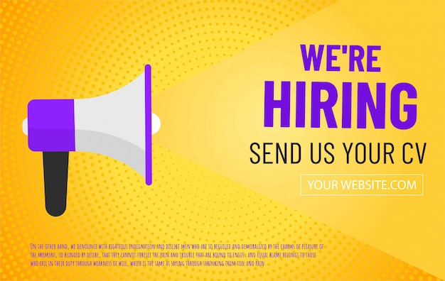 We are hiring advertising banner with megaphone
