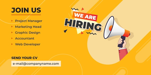 We are hiring announcement with hand holding megaphone