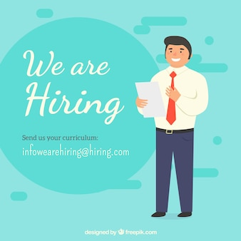 We are hiring background in flat style