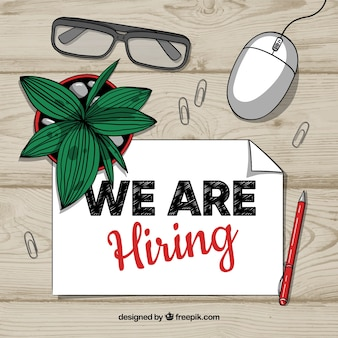 We are hiring background with desk in top view