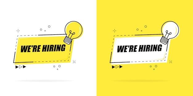 We are hiring. banner for business, marketing and advertising. flat illustration on a white background.