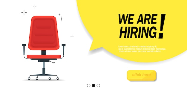 We are hiring, banner concept, vacant position. empty office chair as a sign of free vacancy isolated on a white background. send us your resume.