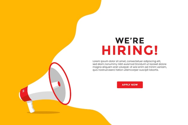 We are hiring banner with megaphone flat illustration