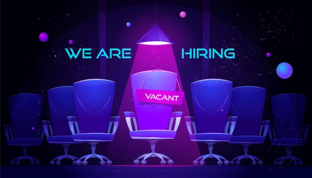 We are hiring banner with vacant chair under spotlight.