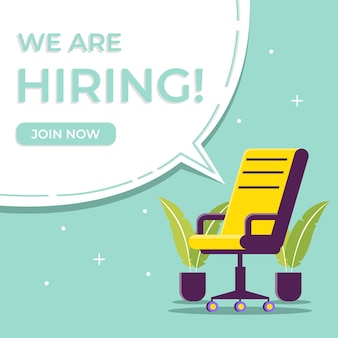 We are hiring business and recruiting with chair illustration