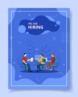 We are hiring candidate interview with corporate manager for template of flyer