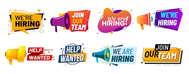 We are hiring communication poster, help wanted advertising banner with speaker