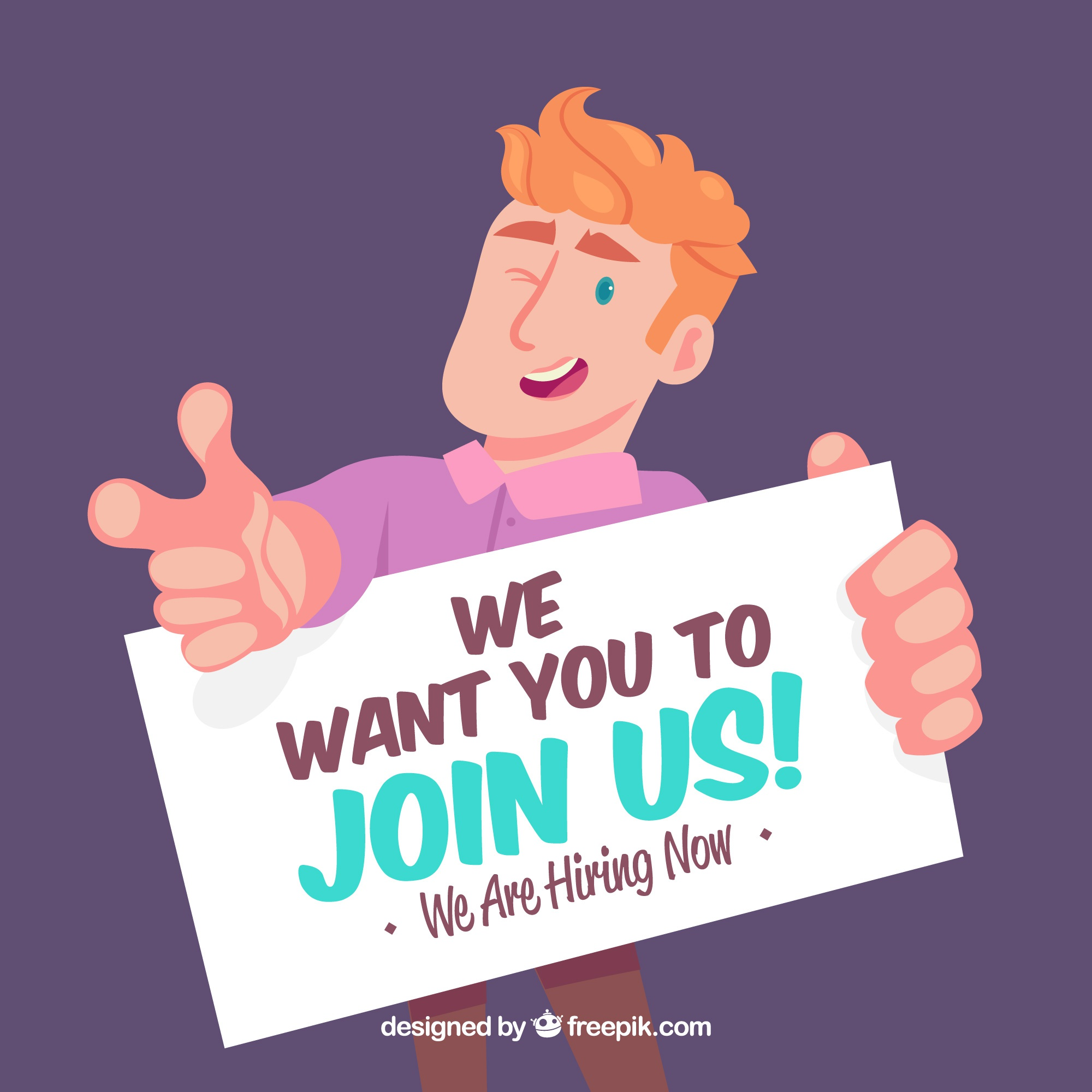 we are hiring  composition with flat design