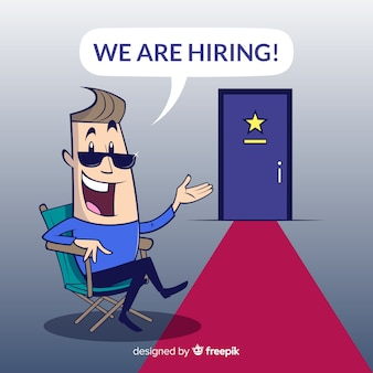 We are hiring concept background with happy character