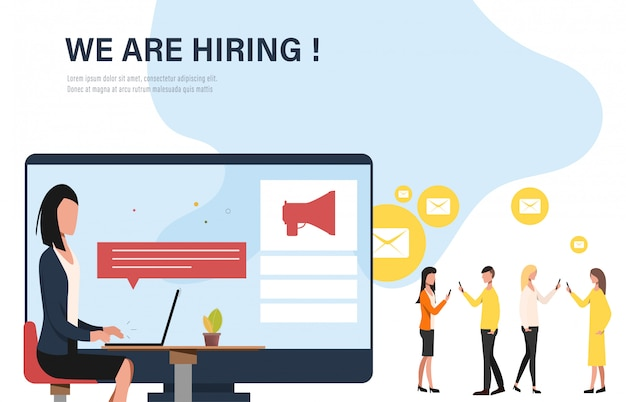 We are hiring concept banner infographic.