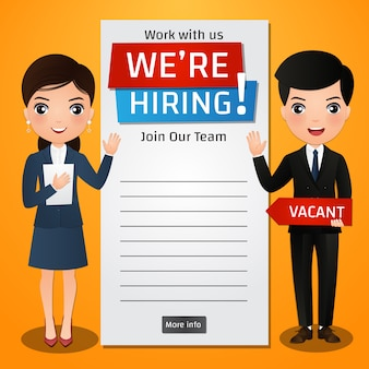 We are hiring concept banner with business man and woman.