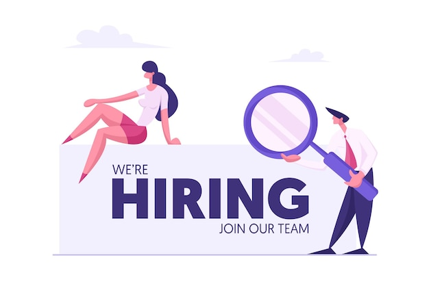We are hiring concept banner with business people illustration