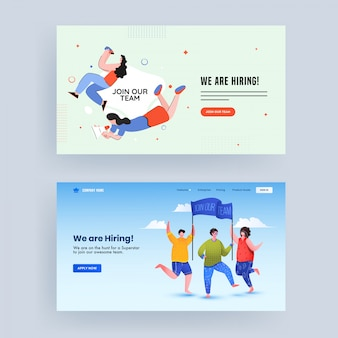 We are hiring concept based landing page set with advertising male and female holding banner for join our team with searching from binocular.
