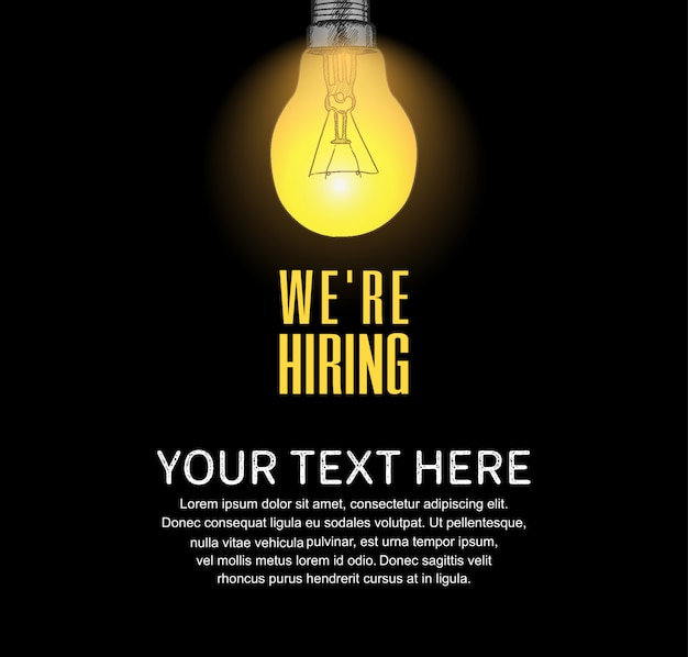 We are hiring concept poster with ligh bulb illustration