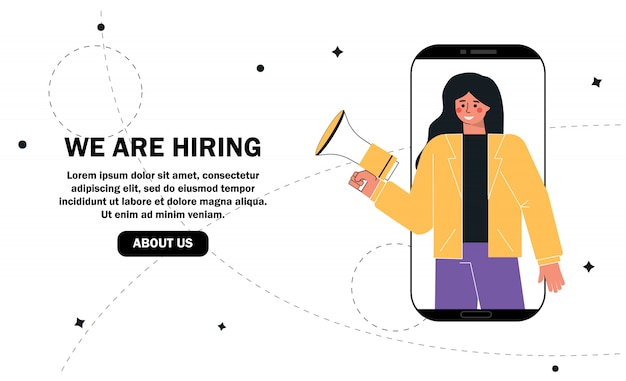 We are hiring concept, recruitment agency, woman shouting on megaphone or loudspeaker and recruiting new employees people to work.