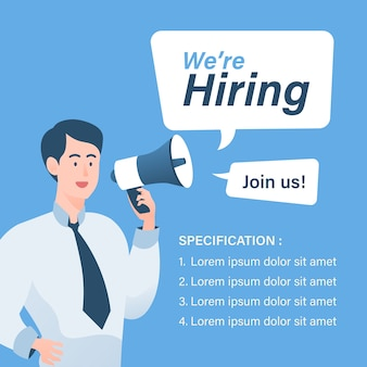 We are hiring concept with businessman holding megaphone illustration