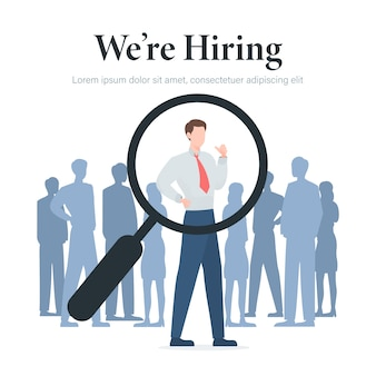 We are hiring concept with businessman and magnifying glass illustration