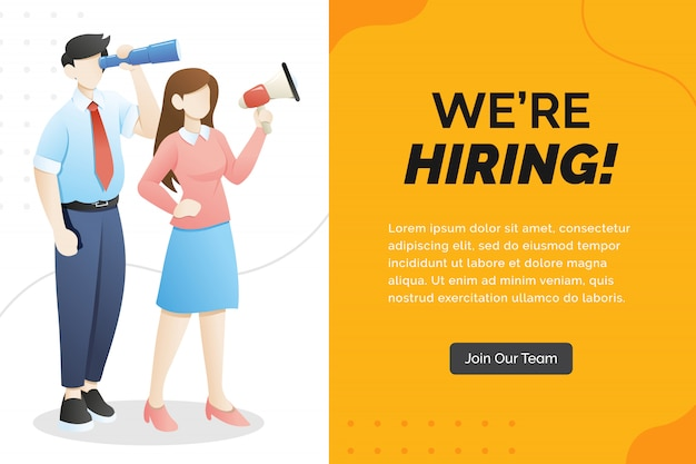 We are hiring concept with character