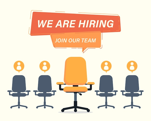 We are hiring concept with empty chairs illustration
