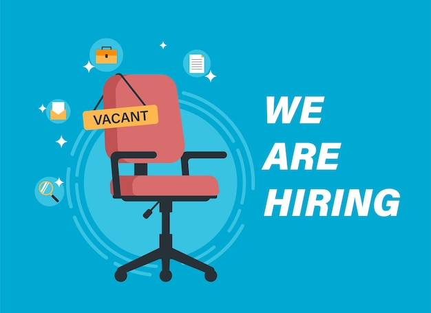 We are hiring concept with empty red office chair illustration
