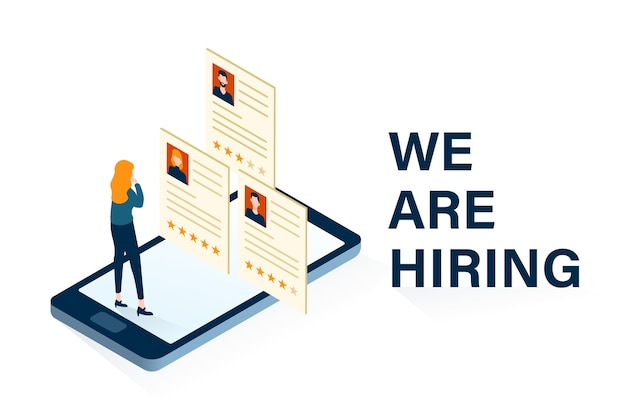 We are hiring concept with illustration of woman choosing employee candidates