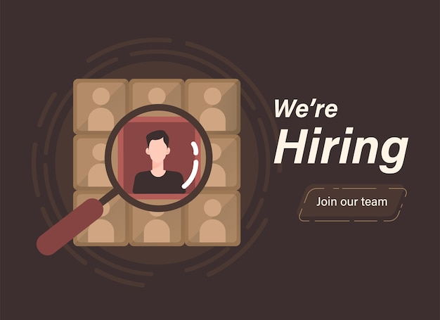 We are hiring concept with magnifying glass over employee candidate illustration