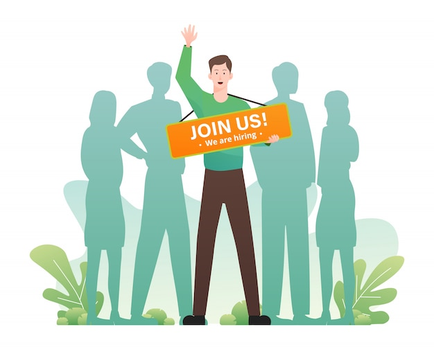 We are hiring concept with man holding join us banner