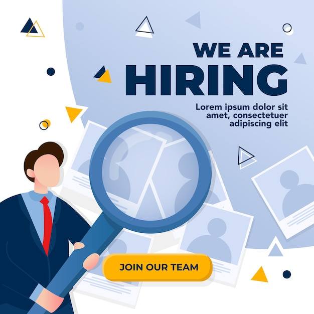 We are hiring design concept. businessman carries magnifying glass to select candidates, vector illustration