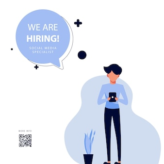 We are hiring design template with flat illustration