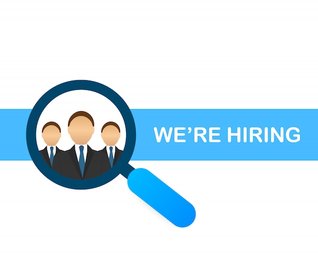 We are hiring design with magnifying glass choosing businessman.
