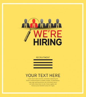 We are hiring design with magnifying glass