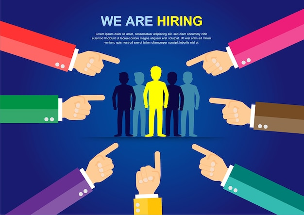 We are hiring, find the right person for the job concept