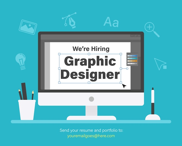 We are hiring graphic designer. staffing & recruiting concept